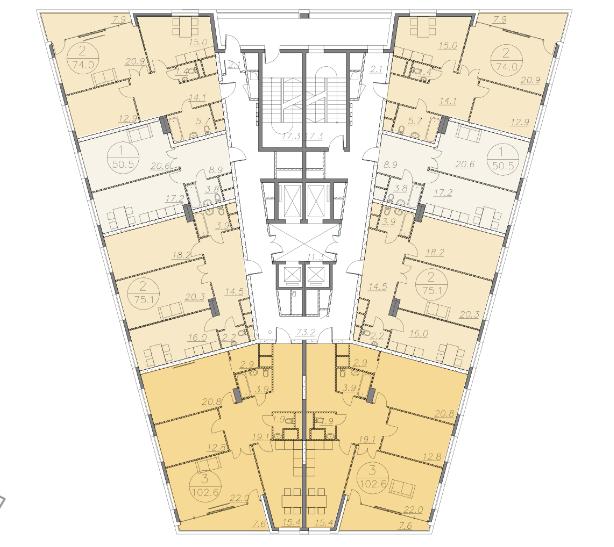 """план этажа ЖК """"V-House"""""""