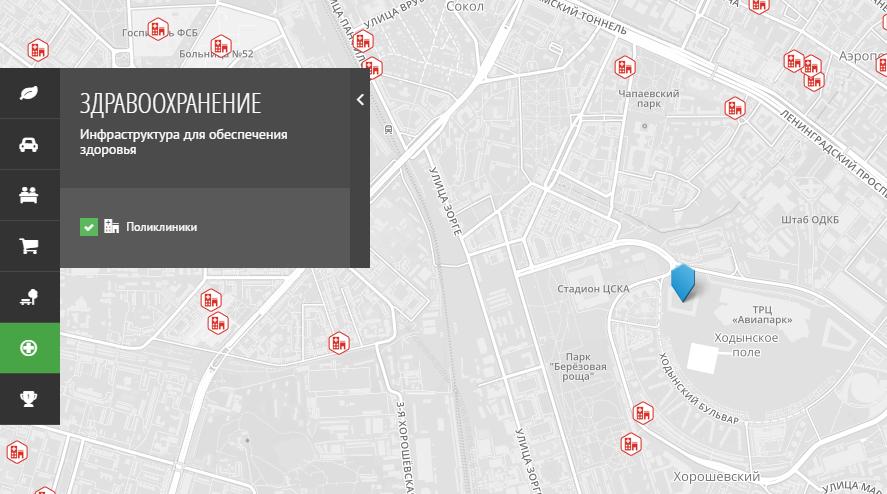 """Карта медицинской инфраструктуры около ЖК """"Лайнер"""" от застройщика ГК """"Интеко"""""""