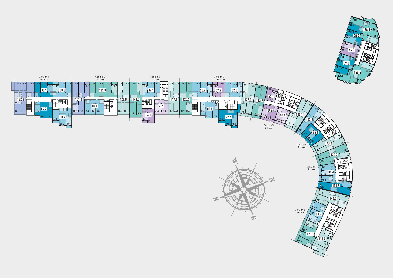 План этажа в ЖК Розмарин